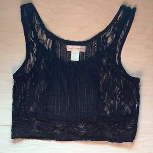 Band of Gypsies Black Lace Crop Top Size S